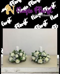 rangkaian bunga meja lilin