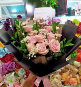 buket bunga mawar pink 10 tangkai