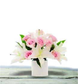 rangkaian-bunga-meja-lily-rose-pink
