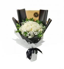 buket mawar putih mix babybreath