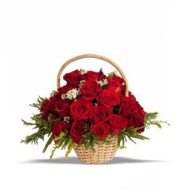 rangkaian bunga mawar meja